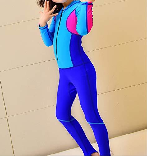 DOOUYTERT Klassisch Kinder Langarm One Piece Badeanzüge Kinder Sonnencreme Farbabstimmung Neoprenanzug für Wassersport (Saphir) (Farbe : Sapphire, Größe : M)
