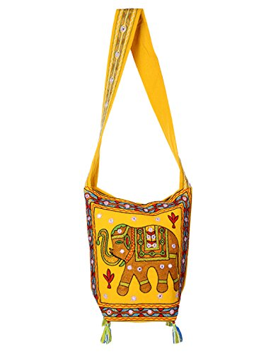 Yellow Girls Jhola Bags Jaipuri Rajasthani Ethnic Design Embroidery Hand Bag Girls Jhola Bags Jaipuri Rajasthani for Girl Women Sling Bag Ladies By Rajrang  available at amazon for Rs.449