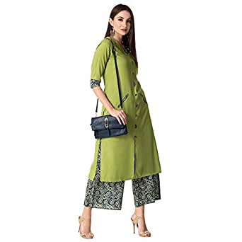 Khushal Women's Rayon Salwar Suit Set (KK-113-Green_Small)