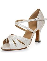 JSHOE Zapatillas De Baile Latino De Salón De Baile De Salsa De Tango Para Mujer Zapatos De Baile De Fiesta,Beigeheeled7.5CM-UK5.5/EU38/Our39