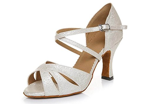 JSHOE Womens Salsa Tango Ballsaal Latin Dance Schuhe Party Tanzschuhe,Beigeheeled7.5CM-UK6/EU39/Our40