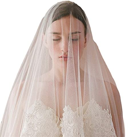 Cereoth Weis Tull Brautschleier Elegant Westlicher Stil Hochzeit Applique Lace Blume Rand Kopfschmuck 2 Schicht mit Kamm