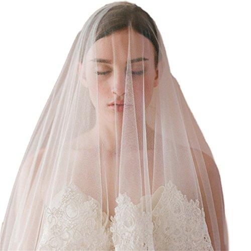 Cereoth Weis Tull Brautschleier Elegant Westlicher Stil Hochzeit Applique Lace Blume Rand Kopfschmuck 2 Schicht mit Kamm (Rand Westlichen)
