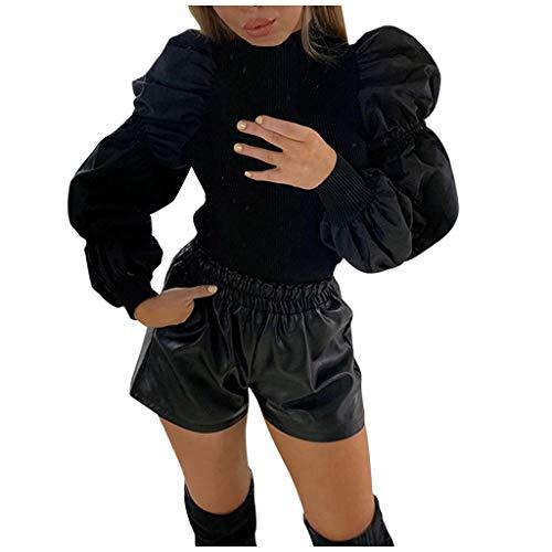 Damen Langarmshirt Frauen Sexy Patchwork Puffärmel Stricken Oberteile Elegant Hoher Kragen Vintage Slim Fit Strickpullover Stricksweat Mode Basic Casual Bluse Tops Shirts (L, Schwarz)