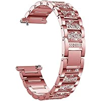 Cooljun Compatible avec Fitbit Versa,Bracelet en Acier Inoxydable à Diamants