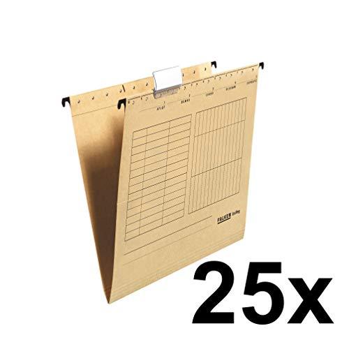 Falken Hängemappe UniReg 25er Pack aus Recycling-Karton für DIN A4 seitlich offen braun Blauer Engel ideal für die lose Blatt-Ablage im Büro und der Behörde