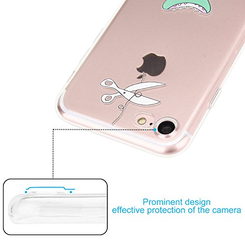 iPhone 7 Hülle, APICI Transparent TPU Case Silikon Tasche Hülle Silicon Protector Schutzhülle Handyhülle mit Schmetterling-Mädchen für iPhone 7(Schmetterling-Mädchen) Krokodilmuster