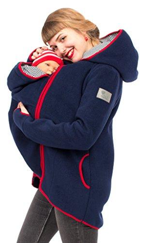 Viva la Mama 3in1 Tragejacke für Mama und Baby I Umstandsjacke Kängurujacke Damen Umstandsmode Fleece Kapuzenjacke mit Tragefunktion JANKO marine-rot - S