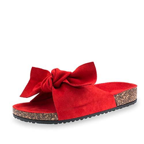 Damen Sommer Pantoletten Sandalen mit Schleife in hochwertiger Wildlederoptik Rot 36 -