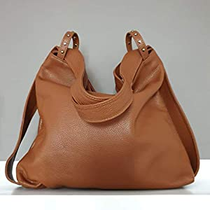 Damen lederrucksack tasche Cognacfarbe handgemacht italenischen