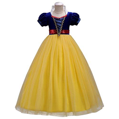Kinder Mädchen Schneewittchen Kostüm Cosplay Märchen Prinzessin Kleid kurzen Ärmeln Tüll langes...
