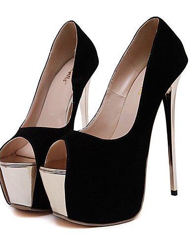 WSS 2016 Chaussures Femme-Soirée & Evénement / Habillé-Noir / Rouge-Talon Aiguille-Talons / Bout Ouvert / A Plateau-Talons-Laine synthétique black-us8.5 / eu39 / uk6.5 / cn40