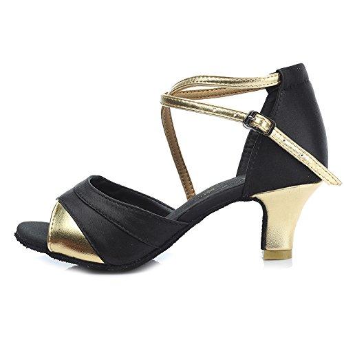 HIPPOSEUS Donna Ballroom Scarpe da ballo/sala da ballo scarpe/Scarpe da ballo latino standard di Raso,Modello-IT221 5CM Oro