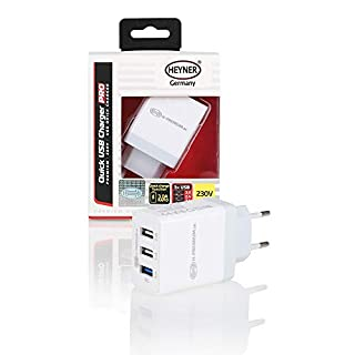 HEYNER 511670 Premium 230V 3-Port USB Ladegerät 3.0 weiß