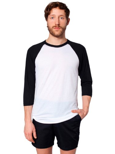 y-Cotton 3/4 Sleeve Raglan Shirt - White / Black / M ()
