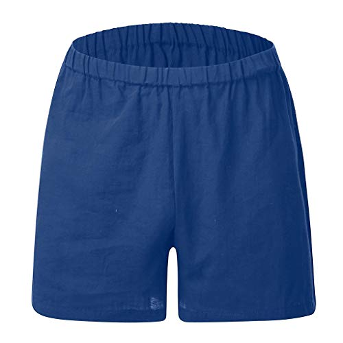 MOTOCO Herren Summer Sports Shorts Schlichte Flache Baumwoll- und Leinentaschen mit Tunnelzug Shortsfitness-Badehose(XL,Blau) Corduroy Cropped Pants
