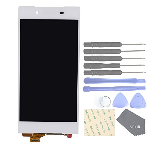 VEKIR Handys Ersatzteile für Sony Xperia Z5 E6603 E6633 E6653 E6683 Komplette Anzeige Touch Digitizer Bildschirm[No Bildschirm Frame](White)