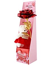 FIZZYTECH 24K red/Golden Rose with I Love You Teddy Bear Doll, Gift Box and (Red Rose with Teddy)