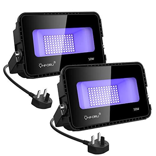 Onforu 50W UV LED Schwarzlicht mit Lüfter   UV LED Flutlicht Strahler mit Lüfter Lichteffekt Partylicht Bühnenbeleuchtung mit EU Stecker  ...