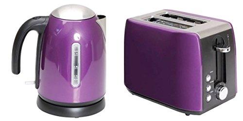 Preisvergleich Produktbild Combo 1, 2 l Wasserkocher und Toaster von Quest,  mit niedriger Wattzahl – aus lila Edelstahl