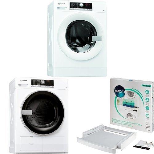 Bauknecht WA Prime 754 PM Waschmaschine A+++ / Frontlader / 1400 UpM / 7 kg + Bauknecht TR Trend 72A2 Di Wärmepumpentrockner / A++ / 7 kg + wpro SKS101 Verbindungsrahmen