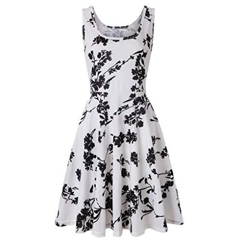 iYmitz DamenÄrmelloses Drucken Sommer Strandlinie Casual Dress Blumenkleid(Weiß,EU-44/CN-XL)