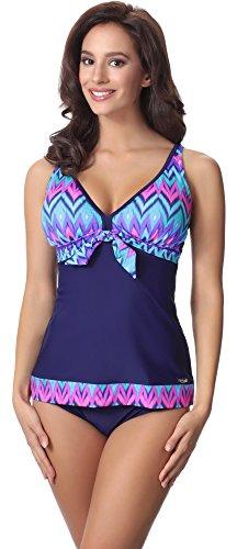 ini AQ107(Marineblau/Mehrfarbig, 40) (Badeanzug Weibliche Plus Size Kostüme)
