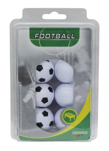 Carromco - Palle per calciobalilla, colore: 3 x Bianco/Nero, 3 x Bianco