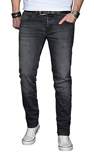 A. Salvarini Designer Herren Jeans Hose Basic Stretch Jeanshose Regular Slim [AS030 - Dunkelgrau - W32 L30]