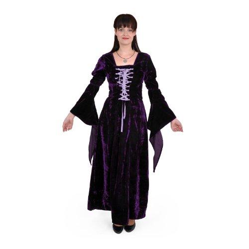 Nicht Traditionellen Vampir Kostüme (Mittelalter Gothic Kleid, Samt, lang, lila, Größe)