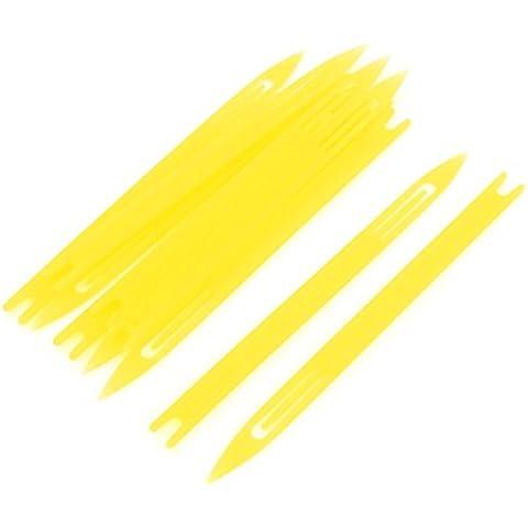 10 piezas de plástico amarillo red de pesca de la aguja de reparación Traslados bobina 2 #