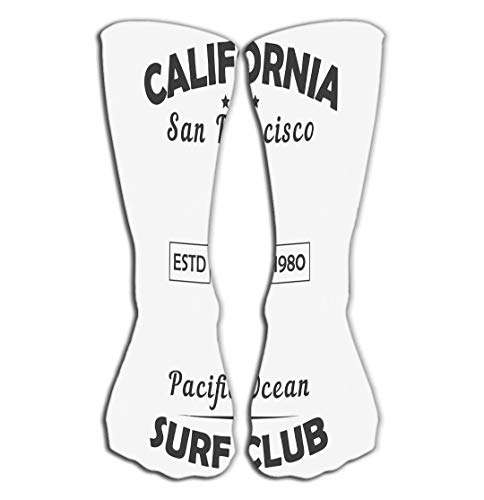 BAOLANZHANG Hohe Socken Outdoor Sports Men Women High Socks Stocking California san Francisco Typography Design Clothes Pacific Ocean surf Club Print Sport Apparel Tile Length 19.7