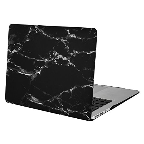 Schwarz-marmor (MOSISO MacBook Air 13 Hülle - Ultra Slim Hochwertige Plastik Matt Gummierte Hartschale Tasche Schutzhülle Snap Case mit Muster für MacBook Air 13 Zoll (A1466 / A1369), Schwarz Marmor)