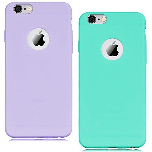 Cover iPhone 6 (4.7),ToDo iPhone 6S Custodia Silicone Ultra Morbido Satinate Opaco Ultra Sottile TPU Flessibile Gomma Cassa Protettiva Gel [Anti-scivolo] [Anti-Graffio] [Antiurto] Leggero Cellulari P Viola + Verde menta