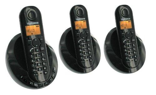 Telefunken TB253N Peps Trio - Teléfono fijo inalámbrico (DECT, 3 terminales), color negro (importado)