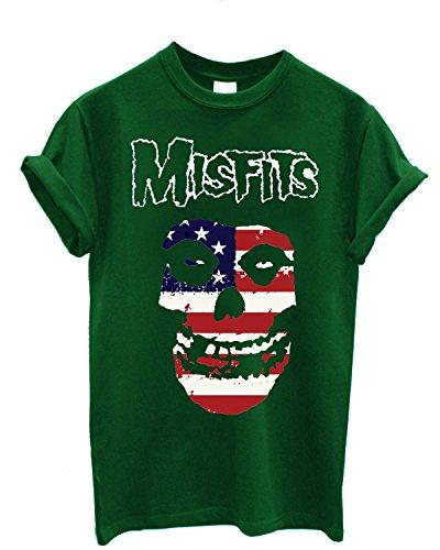 Herren-T-Shirt Misfits - USA Flag - T-Shirt 100% Baumwolle LaMAGLIERIA Grün