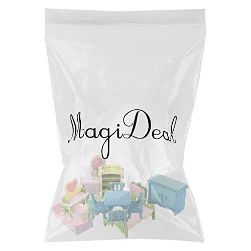 MagiDeal 1:12 Casa Bambole Miniatura Arredamento Camera Da Letta Bagno Sala Da Pranzo Set Legno Multicolore