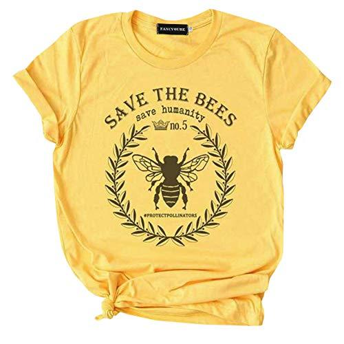 Queenromen Damen Süß Save The Bees Bee Happy T-Shirt Imkerin Fröhliche Für Naturliebhaber Biene Lässig Sommer Top(M Gelb01)