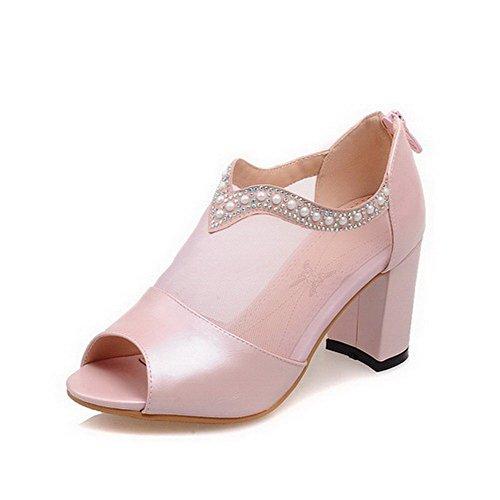 AgooLar Women's Zipper High Heels PU Zipper Open Toe Sandals, Pink, 38