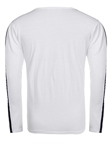Coofandy Shirt Herren Langarm Rundhals Regular Fit Stickerei Langarmshirt Aus Bauwolle für Männer Weiß