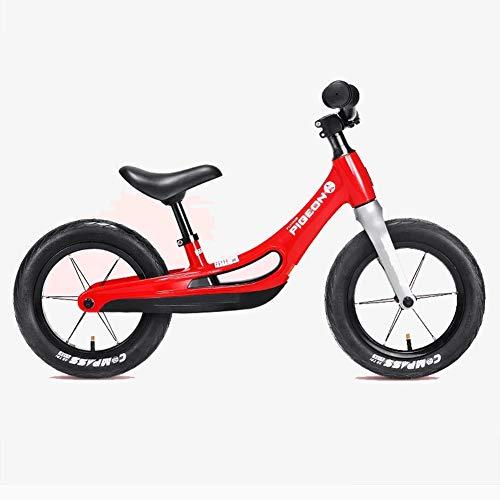 Ultra-Bequeme Kinder Fahrrad, 12-Zoll-Air Reifen Kein Pedal-Kinder-Fahrrad Für 2-6 Jährige, Aus Magnesium-Legierung, Höhenverstellbar, Anti-Vibrations-Struktur Für Junge Kinder,Rot
