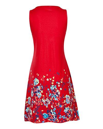 Flying Rabbit Damen Strandkleid Partykleid Trägerkleid Rundhalsausschnitt Ärmellose Sundress Lose Kleid Rot