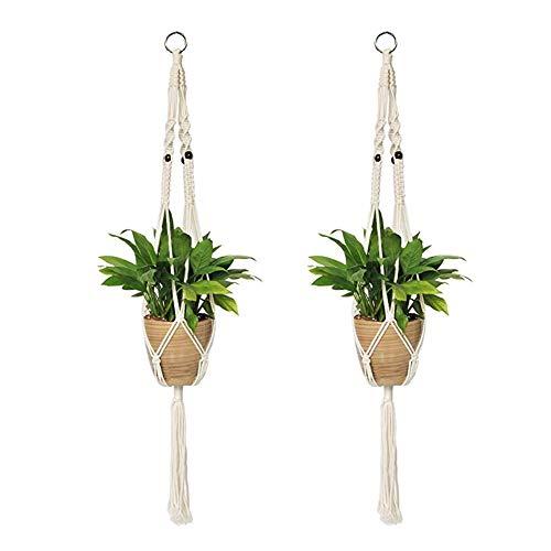 tz, Makramee, handgewebt, für den Außenbereich, Gartendekoration, Pflanzen, Blumen, Hängekorb, Netz, 2 Stück ()