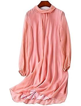 2017 Un nuevo vestido de seda 100% de manga larga vestido de gran tamaño de las mujeres , pink , s