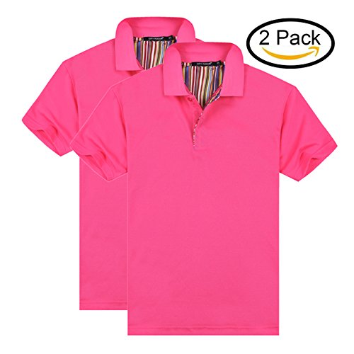 MTTROLI Damen Poloshirt Premium Cotton T-Shirts Kurzarm Damen Poloshirt Teamsport 2er Pack (Hot Pink (2er Pack), 3XL/120cm Büste) (Glanz Pink Hot)
