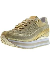 Apepazza Scarpe Donna Sneakers Basse con Zeppa Interna RSD27 GLITTERNET  Robin Oro 0f7521775ae