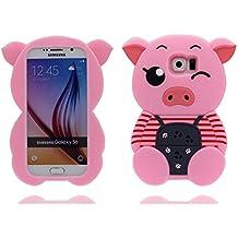 Samsung Galaxy S6 Carcasa - Cover gel suave de TPU Case antichoque resistente a los golpes a prueba de golpes Funda para Samsung Galaxy S6 (solo carcasa) - 3D cerdo Raya [ Rosa ]