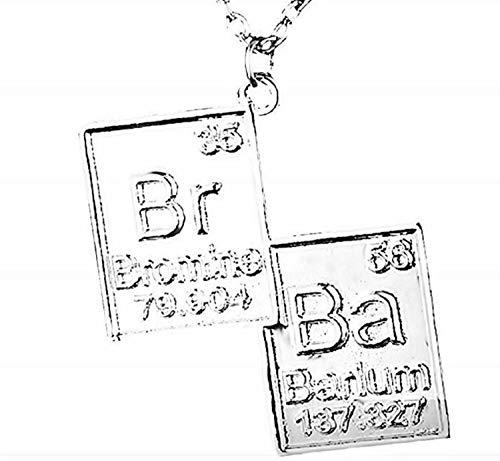 Lovelegis Kette für Herren - Halsketten - Chemikalie - Chemists - Breaking Bad - Br - Ba - Symbole - Film - Fernsehserie - Silberne Farbe