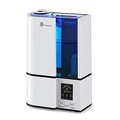 TaoTronics Cool Mist Humidifier 4L/1.1 Gallon Capacity, Ultrasonic Humidifiers for Bedroom with No Noise, LED Display, Mist Level Control, and Timer, 220V, UK Plug