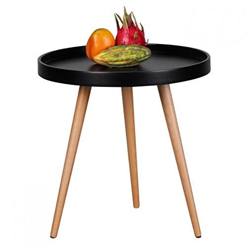 FineBuy Design Couchtisch FB2687 Schwarz Ø 50x50 cm Skandinavischer Retro Look | Matt Lackierter Tabletttisch | Wohnzimmer-Tisch mit Holz-Gestell | Sofatisch Rund | Dreibein Beistelltisch
